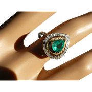 REDUCED Pear Shaped EMERALD & DIAMOND Cluster Ring