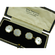 Grand pair of Gold, Mother-of-Pearl, & Pearl Cuff Links