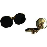 Black Onyx Hexagonal  Gold Hallmarked DRESS Cuff Links