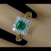 REDUCED Fine Emerald & Diamond Square Cluster ring * * * * *