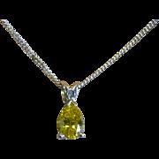 REDUCED Fine Yellow Diamond Drop Pendent & Chain * * * * *