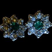 REDUCED English Emerald & Diamond 14k Ear Studs
