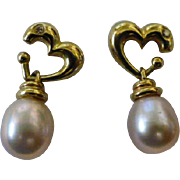 REDUCED Pearl drop, Diamond & Gold Ear Studs