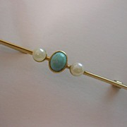 REDUCED English Victorian Turquoise & Pearl 15ct. Brooch