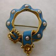 REDUCED ENGLISH Blue enamel 18 ct.  pearl  Brooch