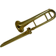 REDUCED Solid Gold TROMBONE Pin / Brooch