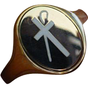 "REDUCED Masonic ""Shriner,white Cross & Staff"" revisable Signet Ring"