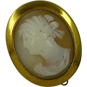 Quality signed 9k Oval Cameo Brooch