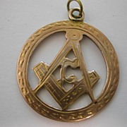 REDUCED 1918  Gold MASONIC engraved motif