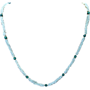 """30"""" long Malachite, Pearls& Gold Necklace"""