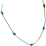 REDUCED Natural Turquoise  Bead 14k Gold Necklace