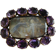 REDUCED Victorian Amethyst Memorial Brooch
