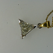 REDUCED Triangular Natural  White Diamond with a 18k Pendent & Chain...