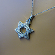 "REDUCED ""Star of David"" Diamond Pendent & Chain"