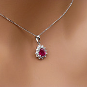 SOLD Stunning Drop Ruby & Diamond Pendent & Chain
