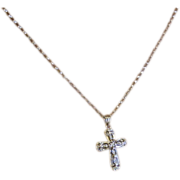 REDUCED White Gold Diamond Cross & Chain