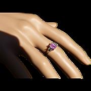 REDUCED Fine Pink Tourmaline & Diamond Platinum Ring