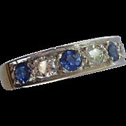 Large Sapphire & Diamond half Eternity Ring