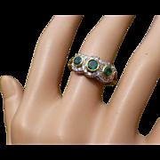 REDUCED Emerald & Diamond triple 18k Cluster Ring