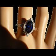 REDUCED Marquise Shape Sapphire & Diamond Ring