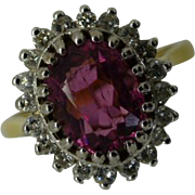 REDUCED Oval  Pink TOURMALINE & Diamond Cluster Ring