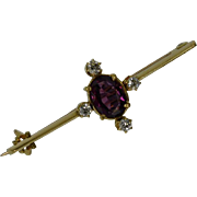 REDUCED Victorian ENGLISH Almandine Garnet & Diamond Brooch