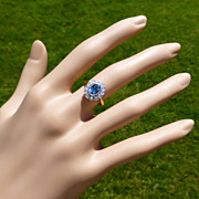 REDUCED Classic Oval Blue Topaz & Diamond Cluster Ring