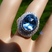 REDUCED Fine Large Diamond & Blue Topaz 18k Ring