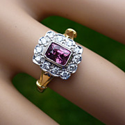REDUCED Real Pink Spinel & Diamond Cluster 18k Ring