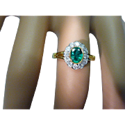 REDUCED Small but perfectly formed EMERALD & DIAMOND Ring