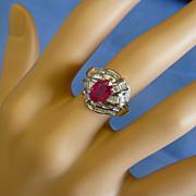 REDUCED Stunning Fancy  Ruby & Diamond 18k Ring