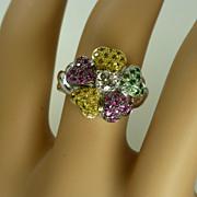 REDUCED Stunning multi Stone 18k Gold Flower Ring