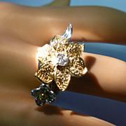 REDUCED Very Fancy 18k Gold Citrine & Diamond FLOWER Ring