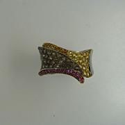 """Champagne"" Diamonds, Citrine & Ruby fancy 18k Gold Ring"