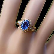 "REDUCED Fancy ""Cornflower"" Sapphire & Diamond Cluster Ring"