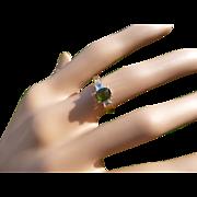 Green Tourmaline & Diamond 18k Ring.