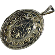 Hand engraved ENGLISH SILVER Oval shaped Locket