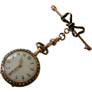 REDUCED Antique 1905 Gold Enamel & Pearl Fob Watch