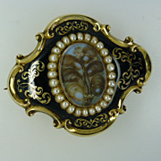 REDUCED Large 1848 real Pearl & Enamel Gold Memorial Brooch