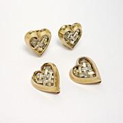 Crown Trifari Baguette Heart Pins And Earrings Set