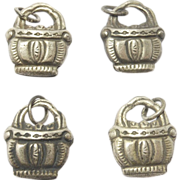 SOLD Set Of 4 Silver Chinese Bells Old Charms Baskets