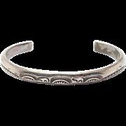 Stamped Navajo Silver Elsie Yazzie Cuff Bracelet