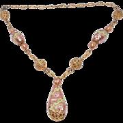 Gorgeous Deco Venetian Glass & Brass Necklace Set