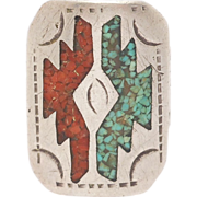 Inlay Navajo Turquoise & Coral Silver Ring