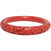 Old Deeply Carved Cinnabar Bangle Bracelet Chinese