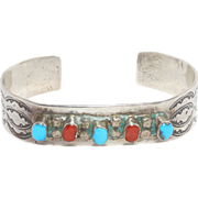Navajo Turquoise & Coral Cuff Silver W. Long