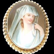 Victorian Porcelain Portrait Gold Filled Brooch