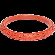 Older Chinese Cinnabar Carved Bangle Bracelet