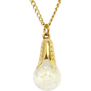 SOLD Vintage Beautiful Large Floating Opals Pendant & Chain