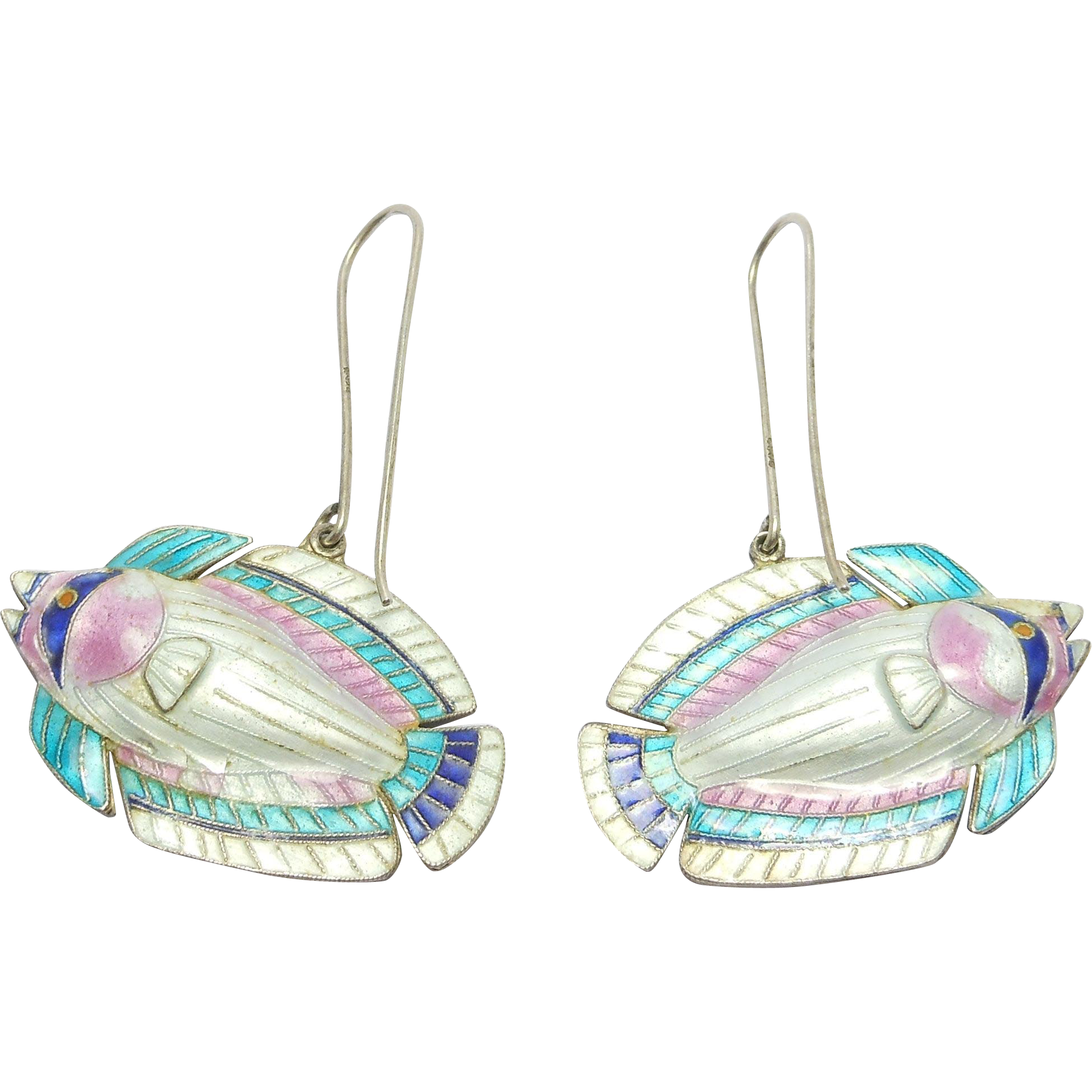 silver cloisonne enamel vintage fish earrings from